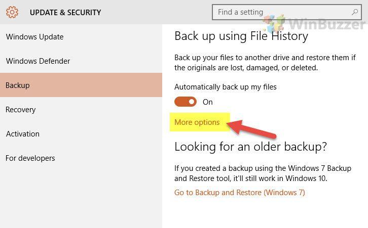 Windows 10 File History Settings_winbuzzer