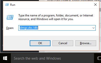 slmgr.vbs dlv windows 10 license check