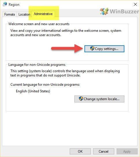 windows 10 logon screen display language change - region administrative_winbuzzer