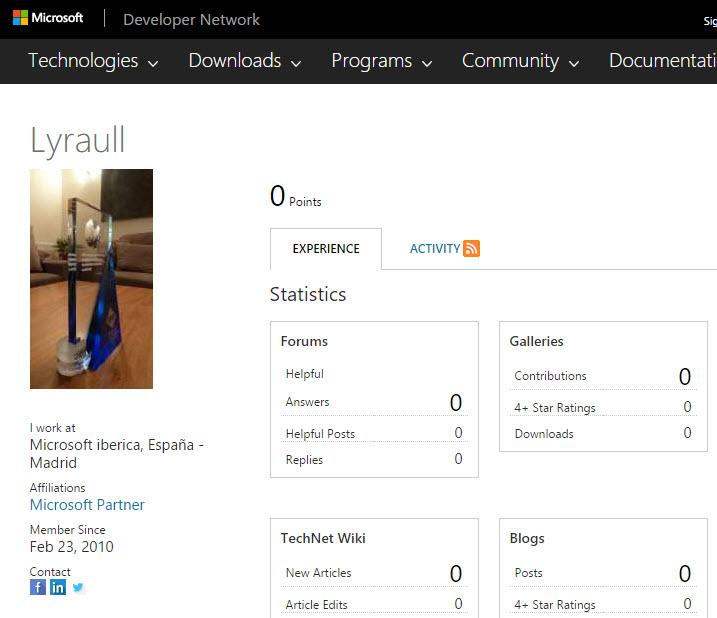Lyraull MSDN profile
