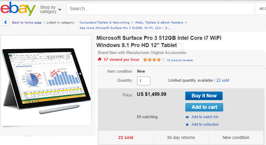 surface pro 3 ebay price cut
