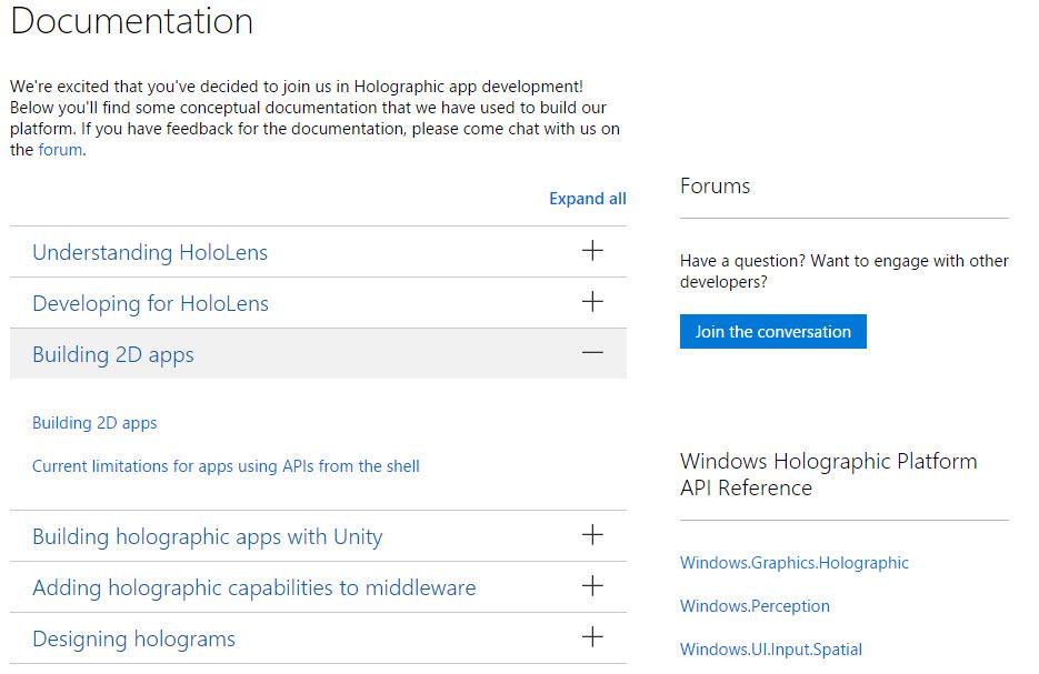 Microsoft Windows Holographic Dev Center HoloLens web screenshot
