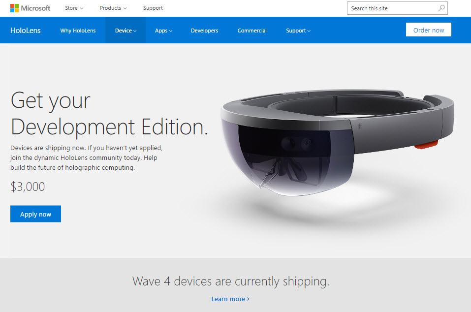 HoloLens Developer Edition official Microsoft website