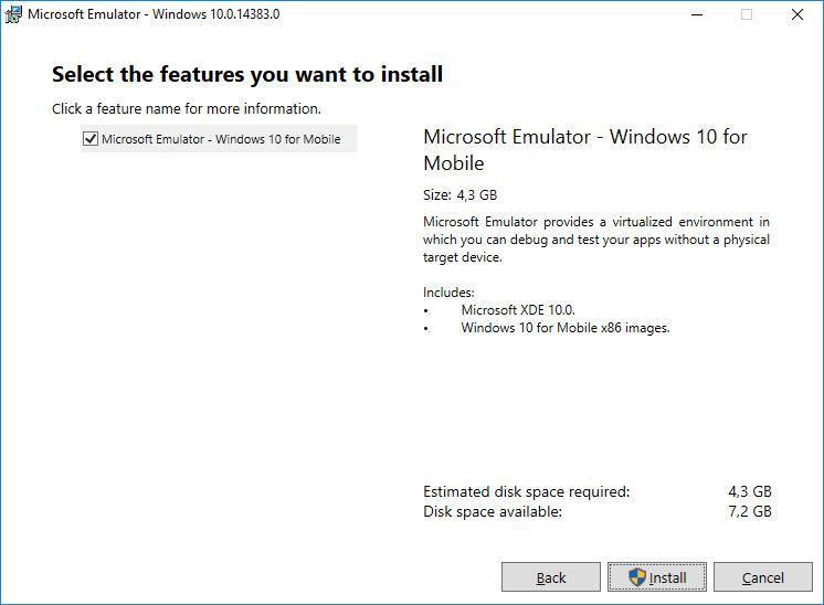 Microsoft Windows 10 Mobile Emulator install own